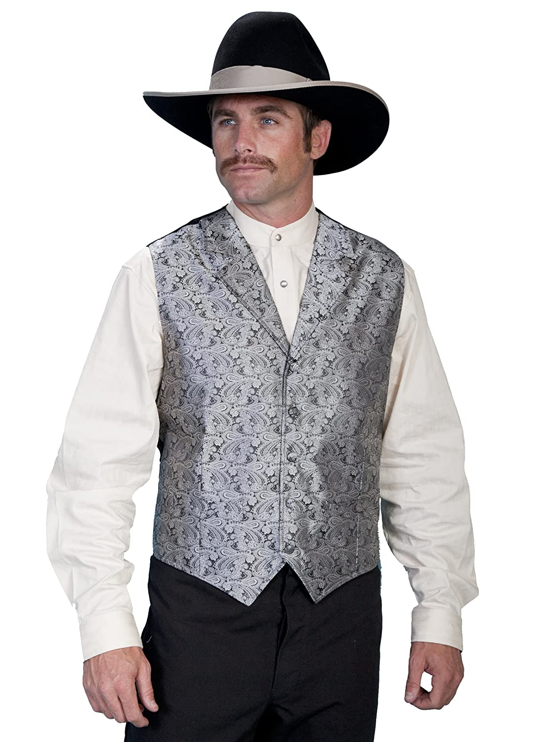Grey Scully Classic Paisley Vest With Notched Lapels