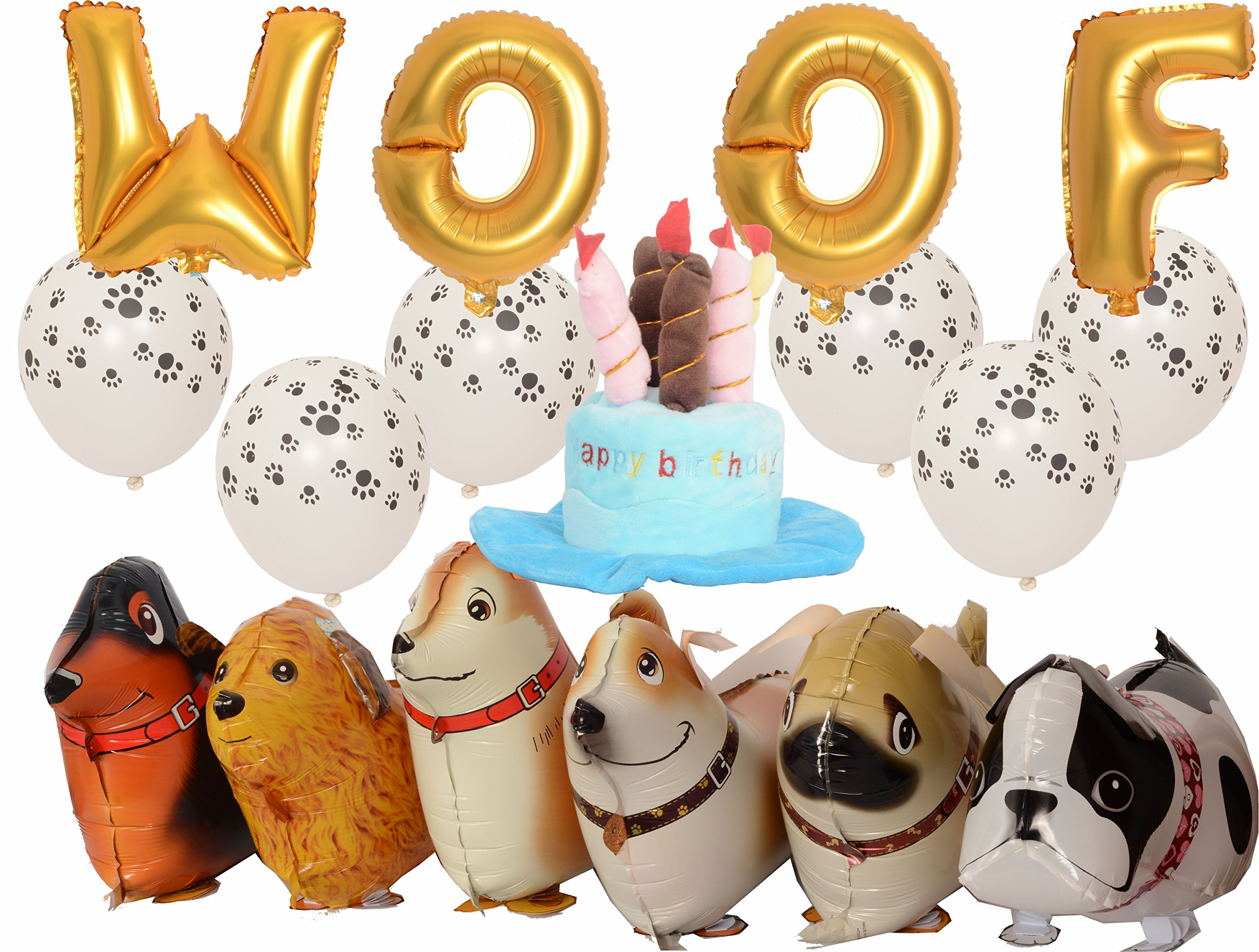 Meant2ToBe Dog Birthday Decorations Kit, 12 Inch WOOF Letter Ballons - 6Pc Walking Animal Pet Dog balloons - Paw Prints Round Biodegradable Latex Balloons - Blue Dog Birthday Hat