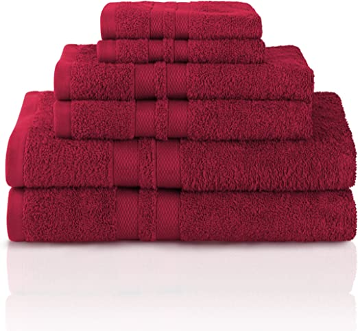 Burgundy 100/% Cotton Dobby Border Set of 6 Solid Color Terry Wash Cloths