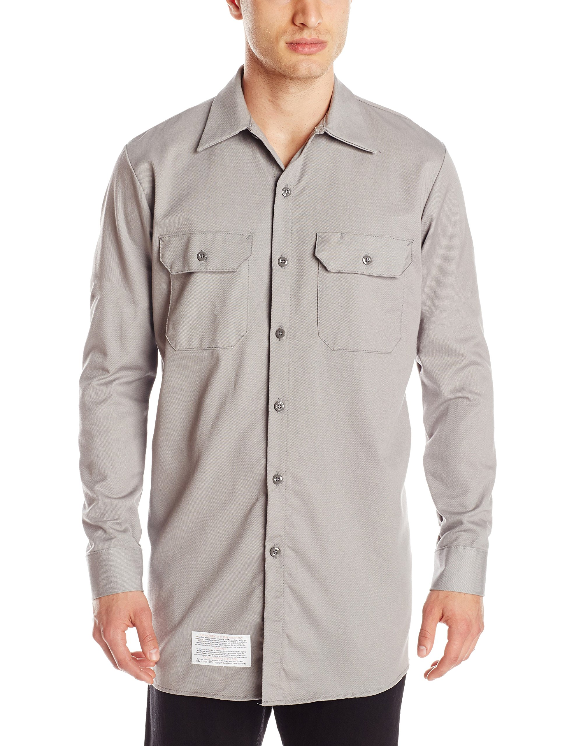 Bulwark Men's Flame Resistant 7 oz Cotton Work Shirt with Sleeve Vent, Silver Grey X-Large/Tall