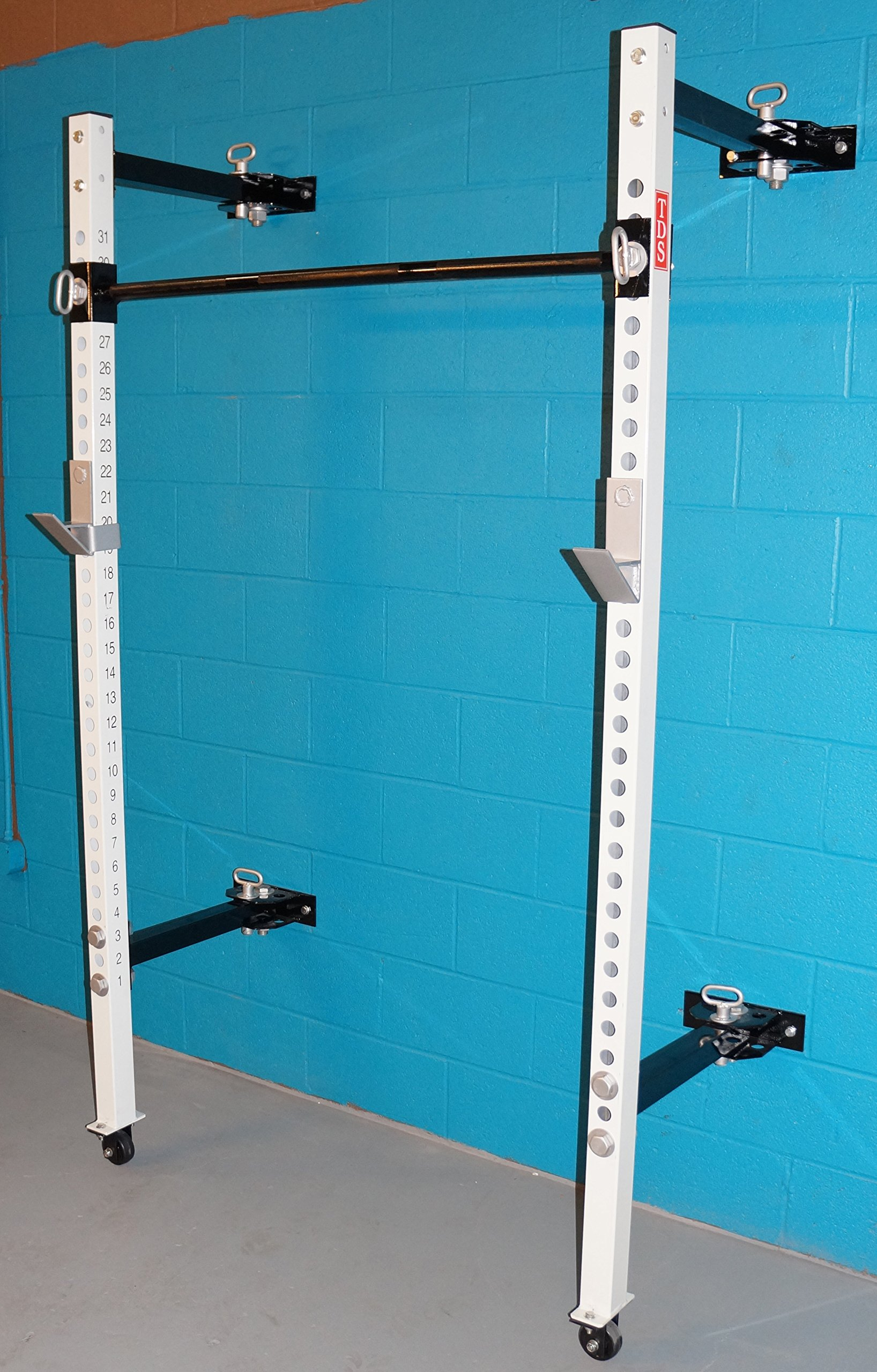 TDS Mega Fold Back 2'' Power Rack 21.5'' Deep Wall Mount with Bold Numbers