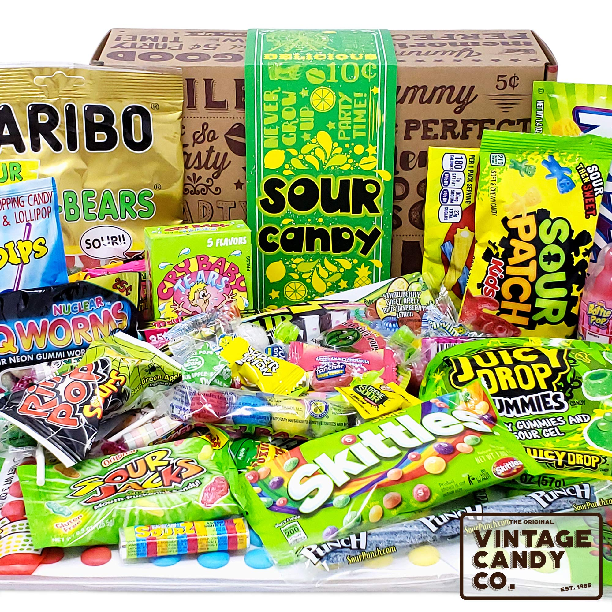 VINTAGE CANDY CO. SOUR CANDY ASSORTMENT GIFT BOX - Best Candy Variety Mix Care Package - Unique & Fun Gag Gift Basket - PERFECT For Man Or Woman Who LOVES SOUR Candy by Vintage Candy Co.