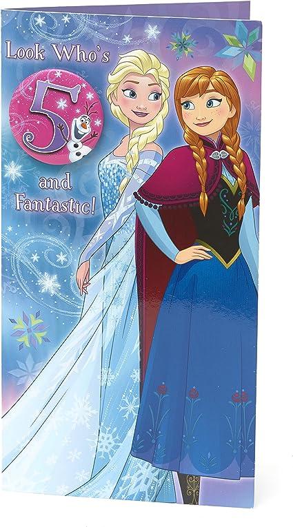Carlton 796201 0 2 5 Cm Disney La Reine Des Neiges Minimum 12 7 Cm Carte D Anniversaire Avec Badge Amazon Fr Fournitures De Bureau