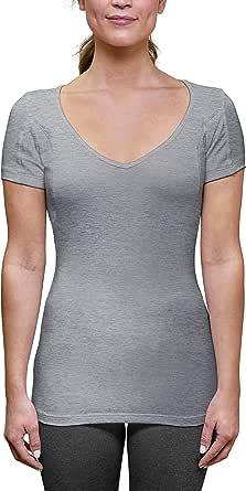 Sweatproof Undershirt for Women with Underarm Sweat Pads (Slim Fit, Deep V-Neck)