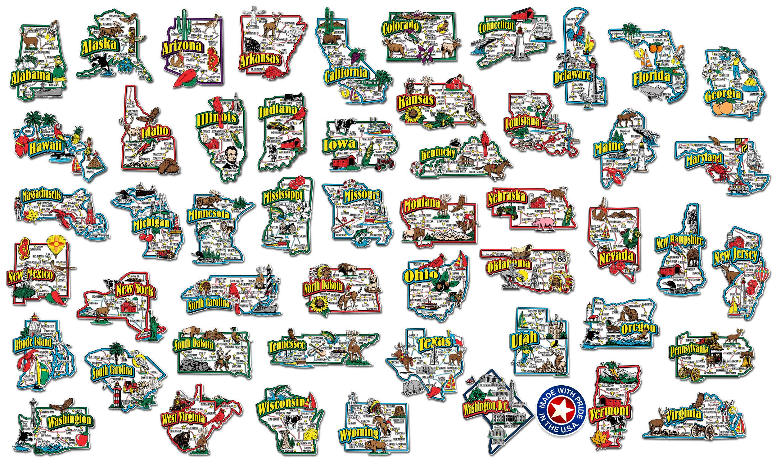 Classic Magnets Complete State Jumbo Map Magnet Collection by Classic Magnets