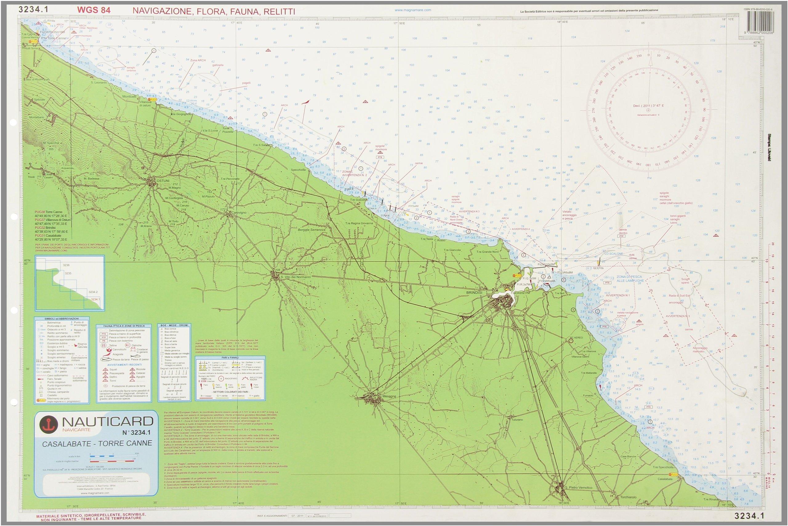 Carta nautica 3234. Da Bari a Casalabate: 9788862000208 ...