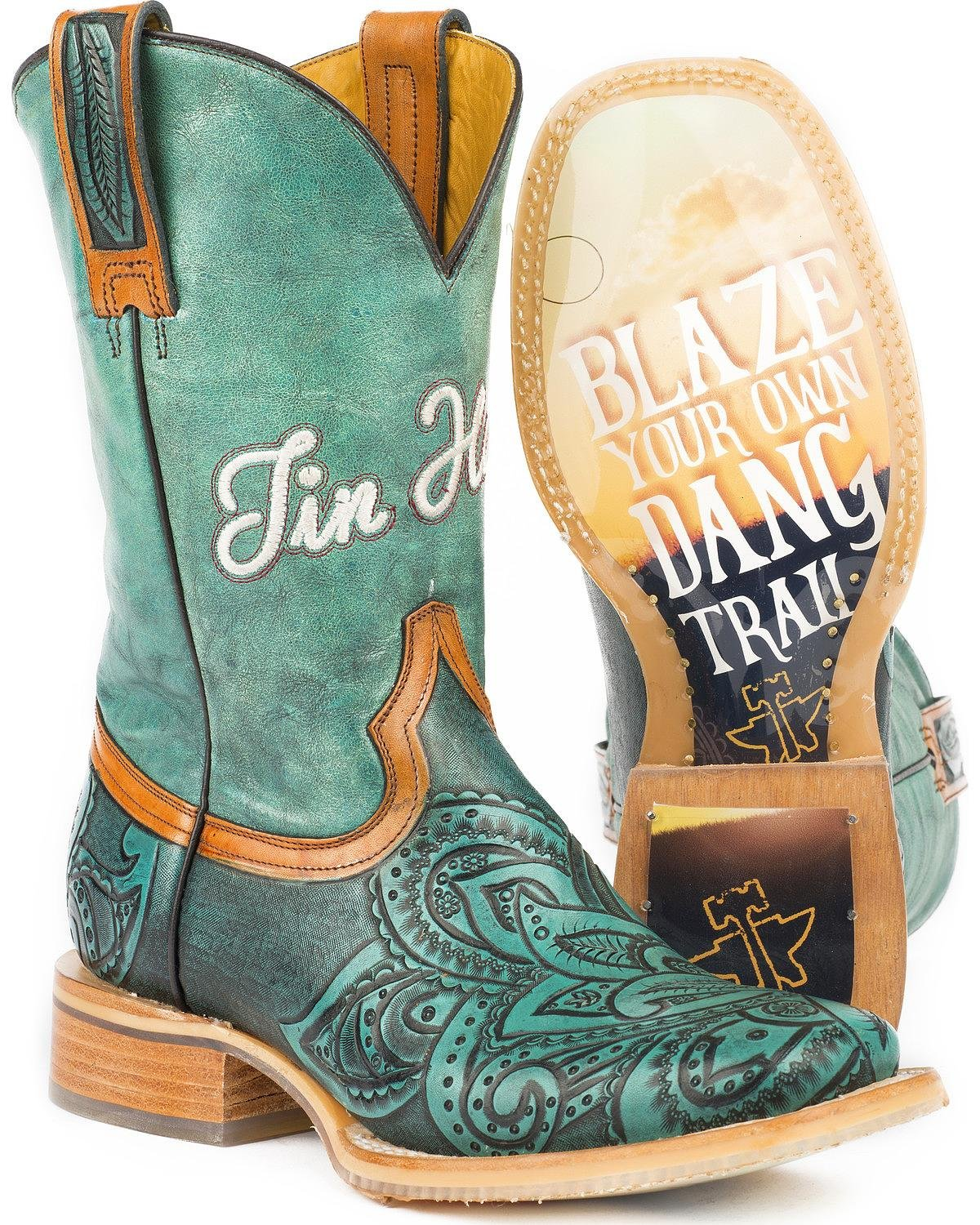 Tin Haul Shoes Women's Paisley Too Western Boot B0778MZ6CX 10 B(M) US|Blue