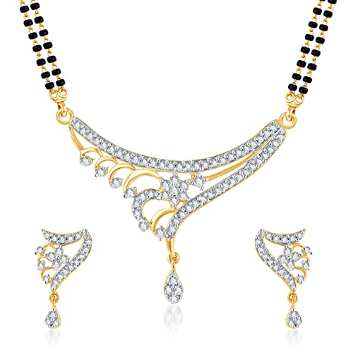 VK Jewels Stylish Gold And Rhodium Plated Alloy Mangalsutra set with Earrings for Women made with Cubic Zirconia-MP1056G [VKMP1056G] Mangalsutras at amazon