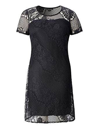 ec92eaaa89a Chicwe Women s Plus Size Elegant Lace Shift Dress - Knee Length Casual Dress  Black 1X