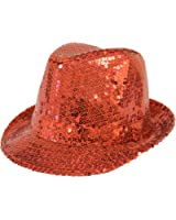 Sequin Covered Fedora / Red / Red Hat Lady Society
