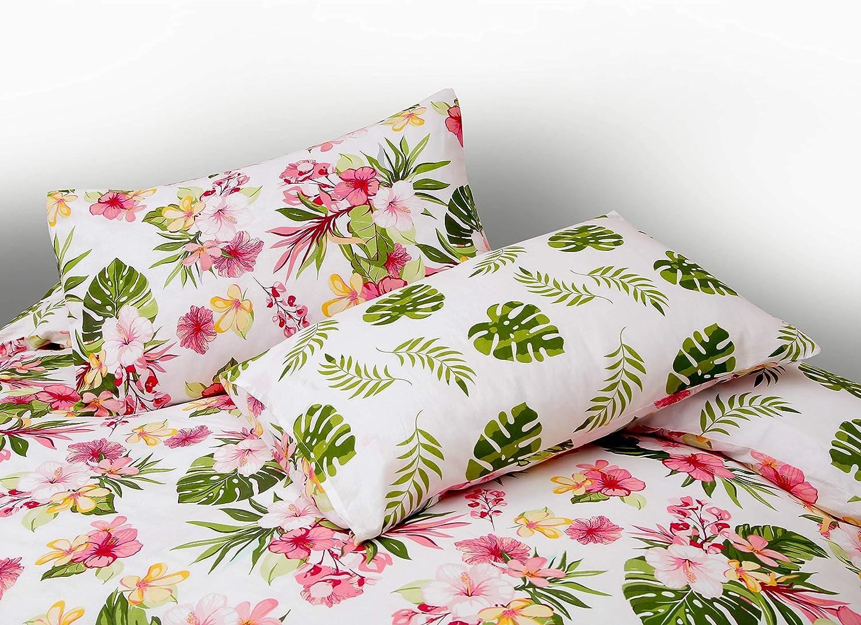 Colore Bianco Nimsay Home 100/% Cotone Set Copripiumino con Motivo Floreale Tropicana Bianco Filled Cushion 45x45cm 100/% Cotone