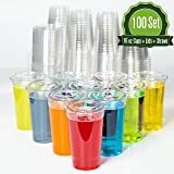 Plastic Cups with Lids and Straws [ 16oz -100 Sets ] Clear Disposable Cups Ideal for Iced Coffee, Juice, Bubble Boba, Smoothie, Soda, Cocktail Party and Tea etc.