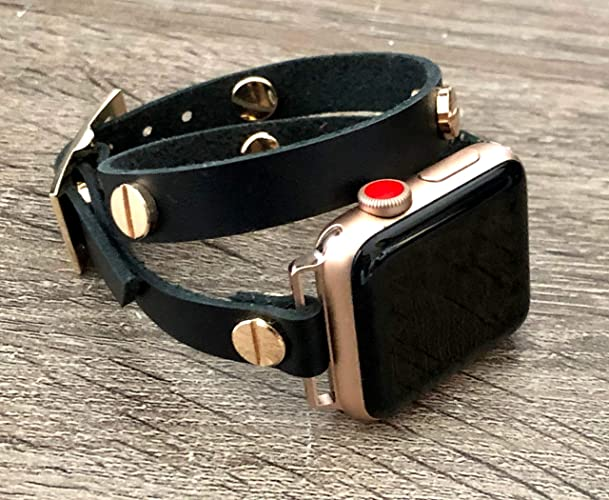 7a74cc737 Black Genuine Leather Band for Apple Watch Series 4 & 3 Gold/Rose Gold  Aluminum Case Handmade Double Tour Adjustable Wrap Strap iWatch Women  Bracelet ...