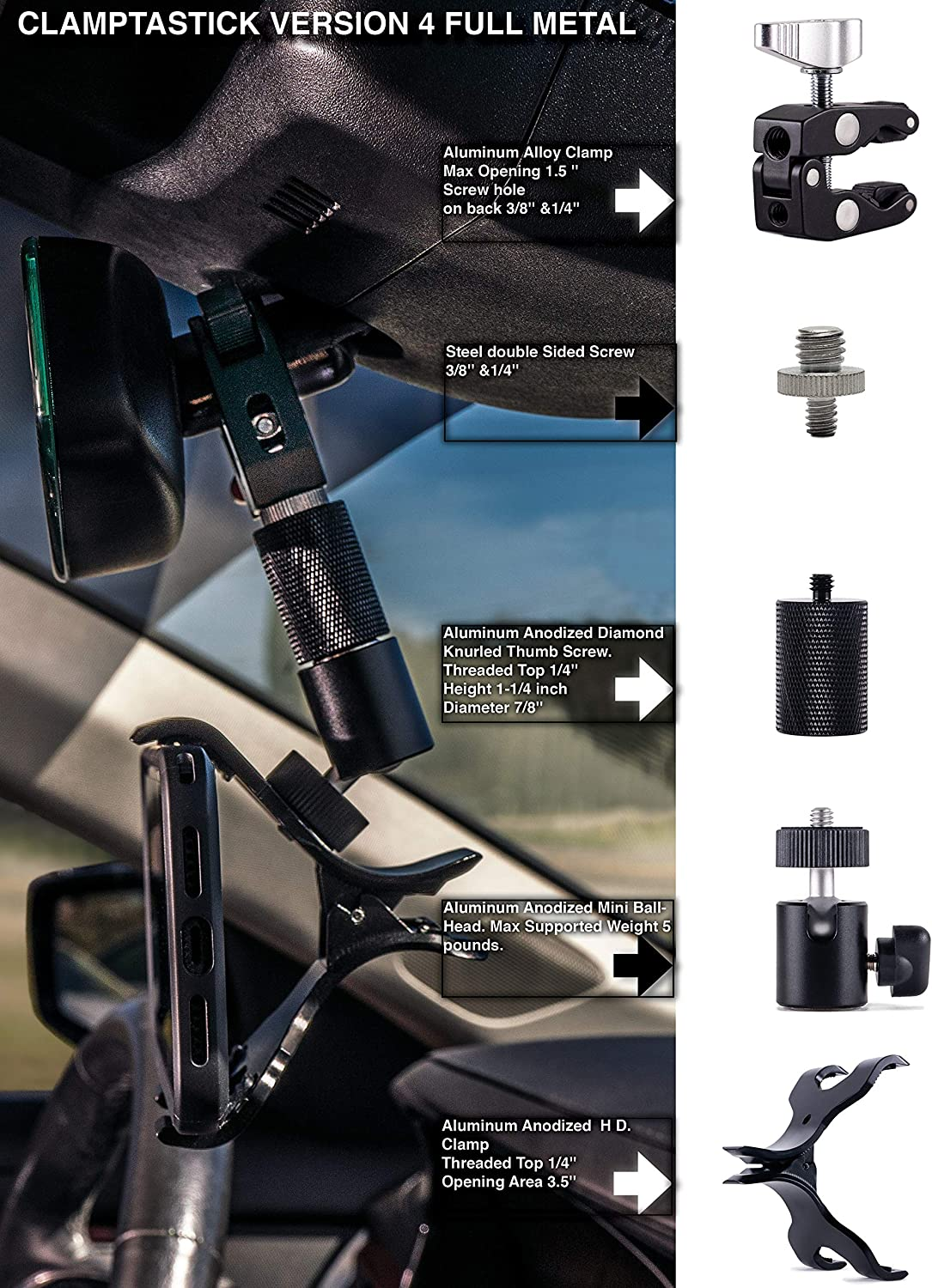 Black - Version 4 Full Metal Universal Cell Phone Holder for mounting on Rearview Mirror Compatible with Mobile iOS Devices Clamptastick ! Android Smartphone GPS and More.