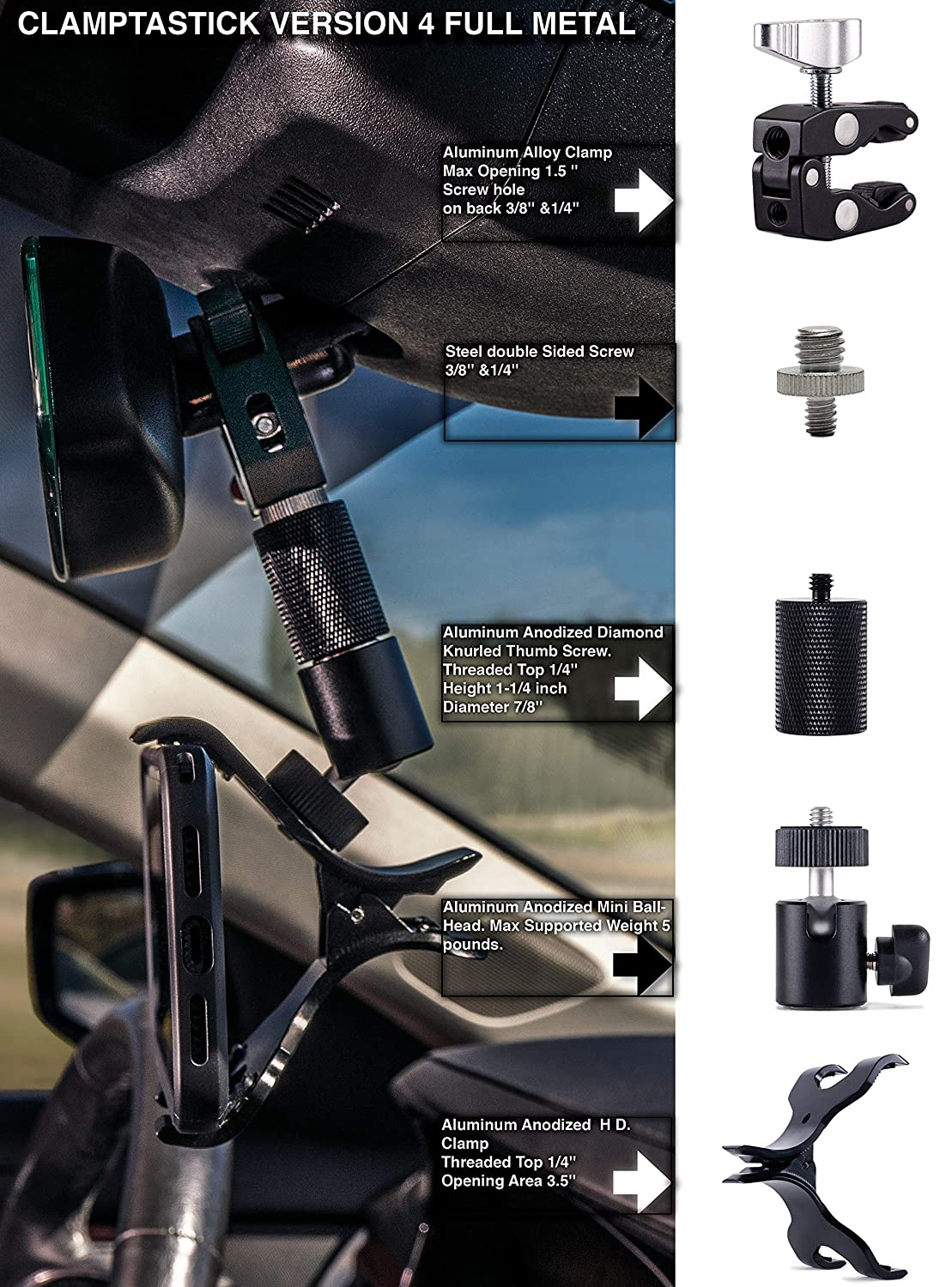 Universal Cell Phone Holder for mounting on Rearview Mirror Compatible with Mobile iOS Devices Black - Version 4 Full Metal Android Smartphone GPS and More. Clamptastick !