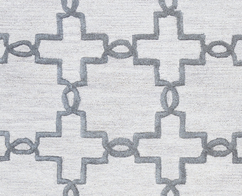 Rizzy Home Arden Loft-Lisbon Corner Collection Wool Light Gray//Charcoal Geometric  Area Rug 26 x 8