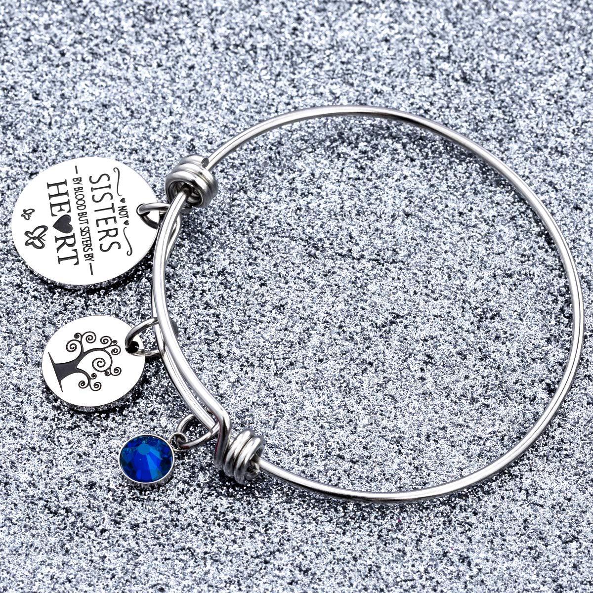 omodofo Best Friends Birthstone Bracelet - Not Sister By Blood But Sister By Heart Friendship Inspirational Charm Cuff Bangle Sister Jewelry Graduation Gifts (September) by omodofo (Image #4)
