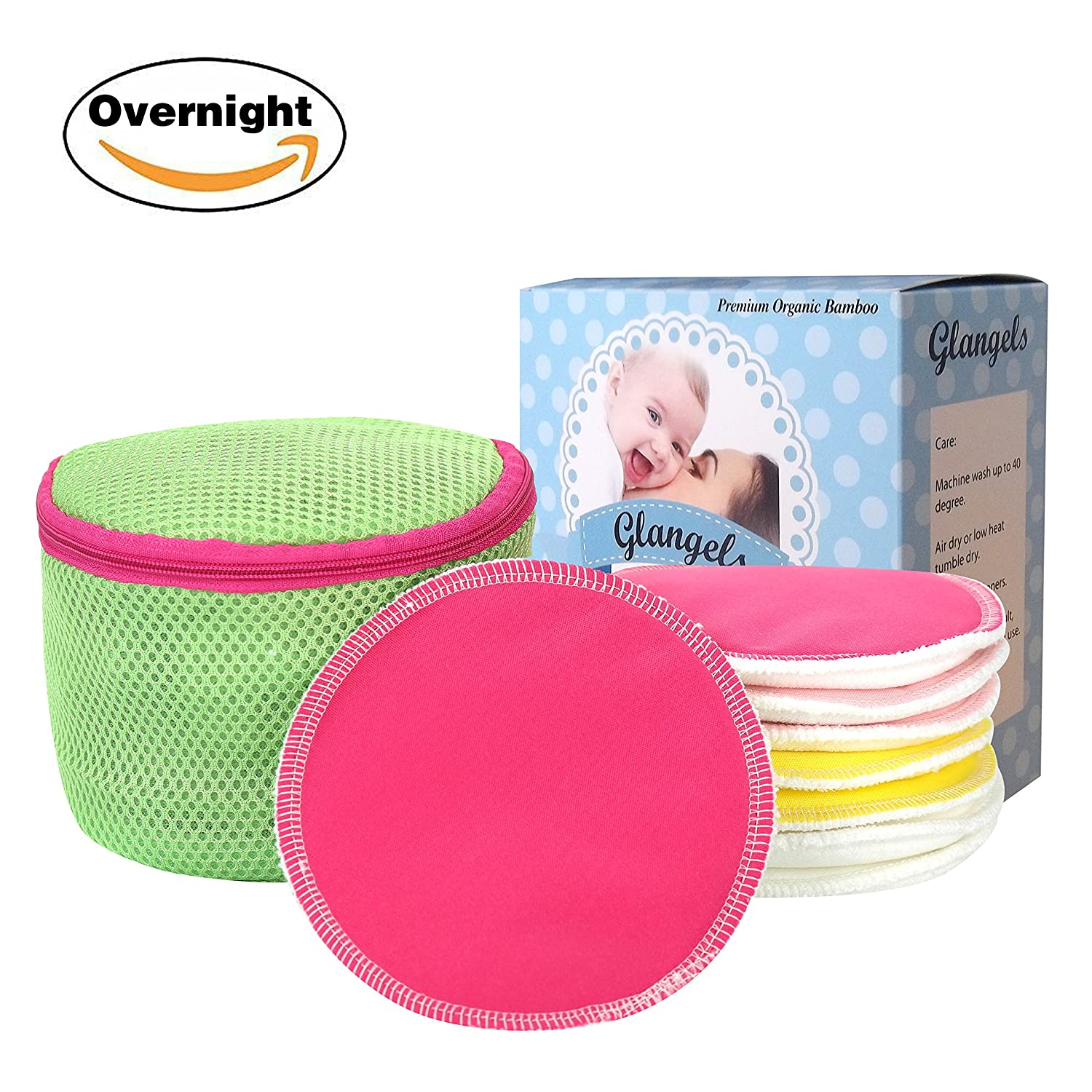 Glangels Thick Overnight Organic Washable& Reusable Nursing Pads, Super Soft Hypoallergenic Antibacterial Bamboo Breastfeeding Pads, Soothes Sensitive Nipple +Free Laundry Bag