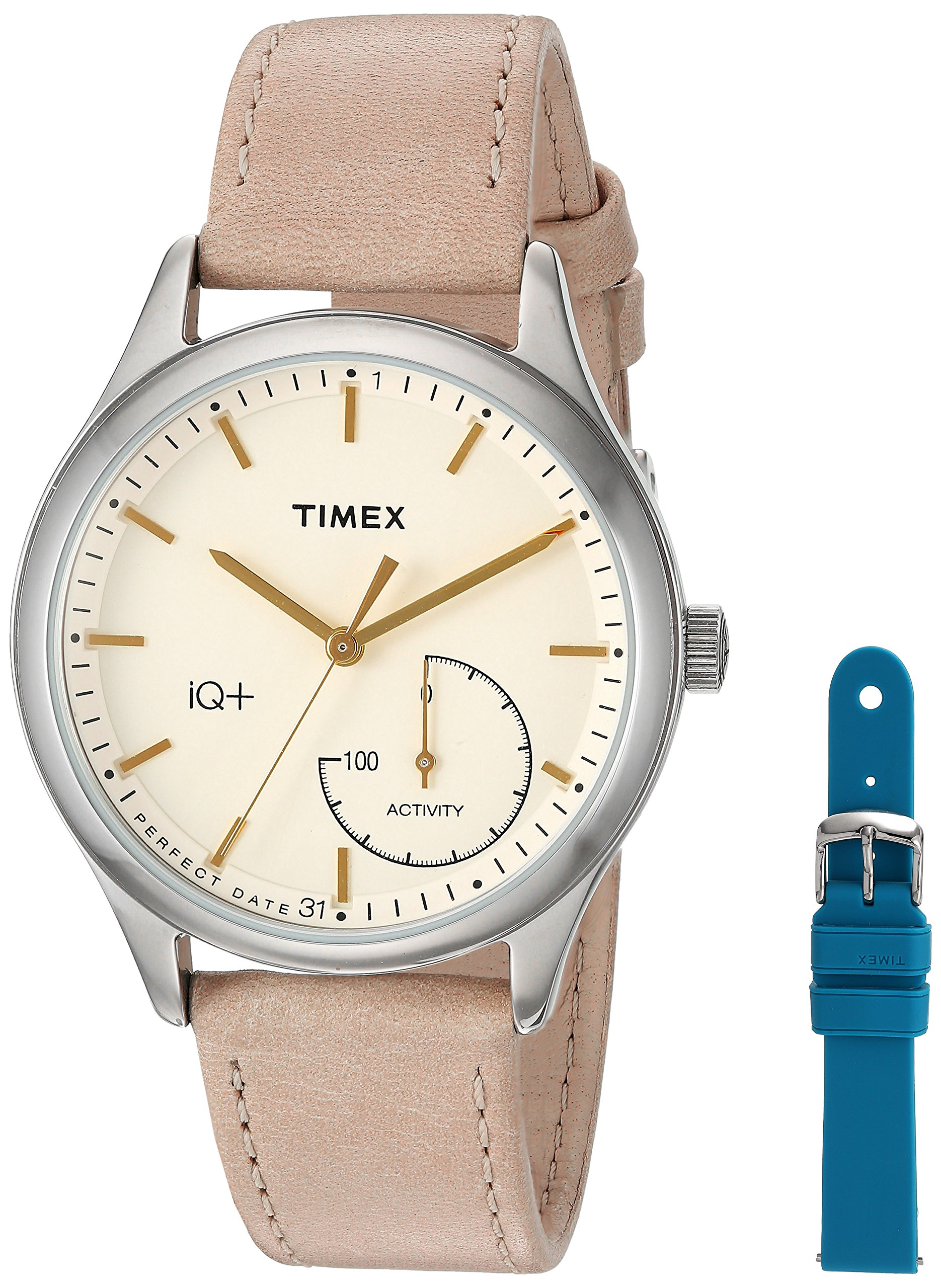 Timex Women's TWG013500 IQ+ Move Activity Tracker Tan Leather Strap Smart Watch Set With Extra Teal Silicone Strap by Timex