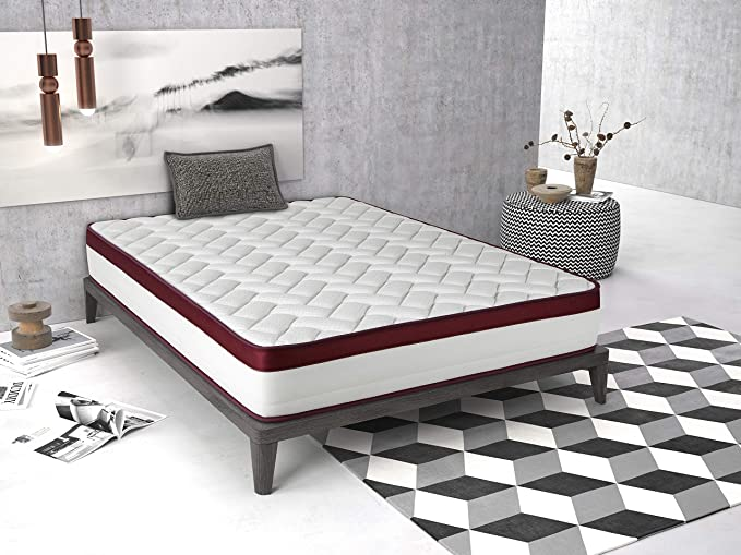 Imperial Confort Helsinki New 25 Colchón viscoelástico, Espuma HR, Blanco/Rojo, 150x190: Amazon.es: Hogar