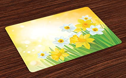 3ba5ee1d0 Ambesonne Daffodil Place Mats Set of 4, Daffodils Garden Narcissus Rebirth  and New Beginnings Celebration