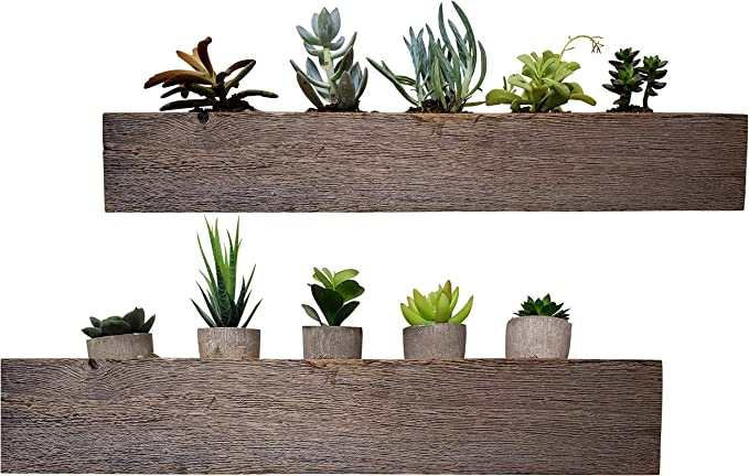 Succulent Planter Pot Shelf Set Made from Reclaimed Wood - Hang on Wall with Included Brackets (2 Piece, Rustic)