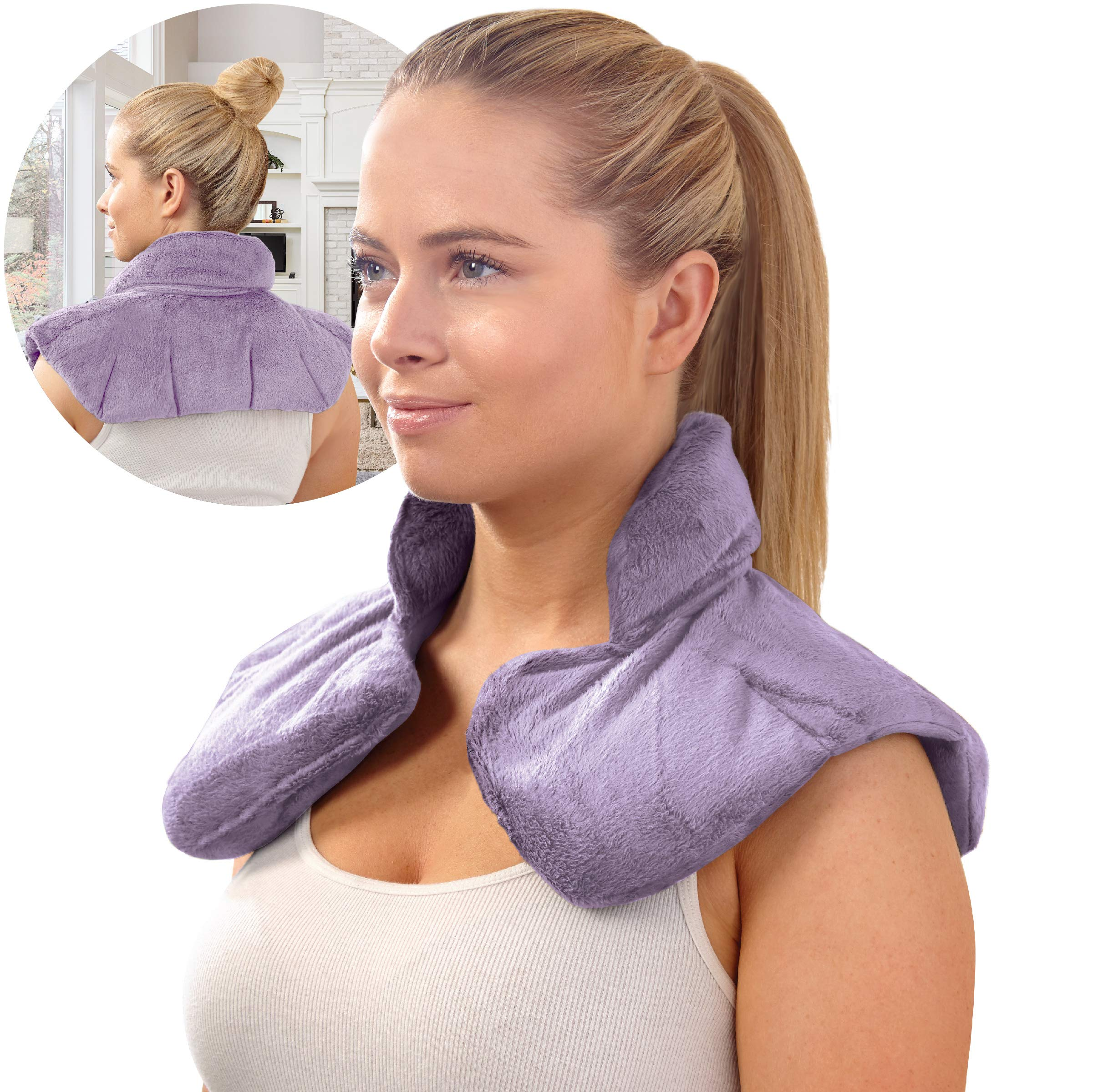 SHARPER IMAGE Hot & Cold Herbal Aromatherapy Neck & Shoulder Plush Wrap Pad for Soothing Muscle Pain and Tension Relief Therapy, 100% Natural Lavender & Herb Spa Blend, Use in Microwave or Freezer by Sharper Image