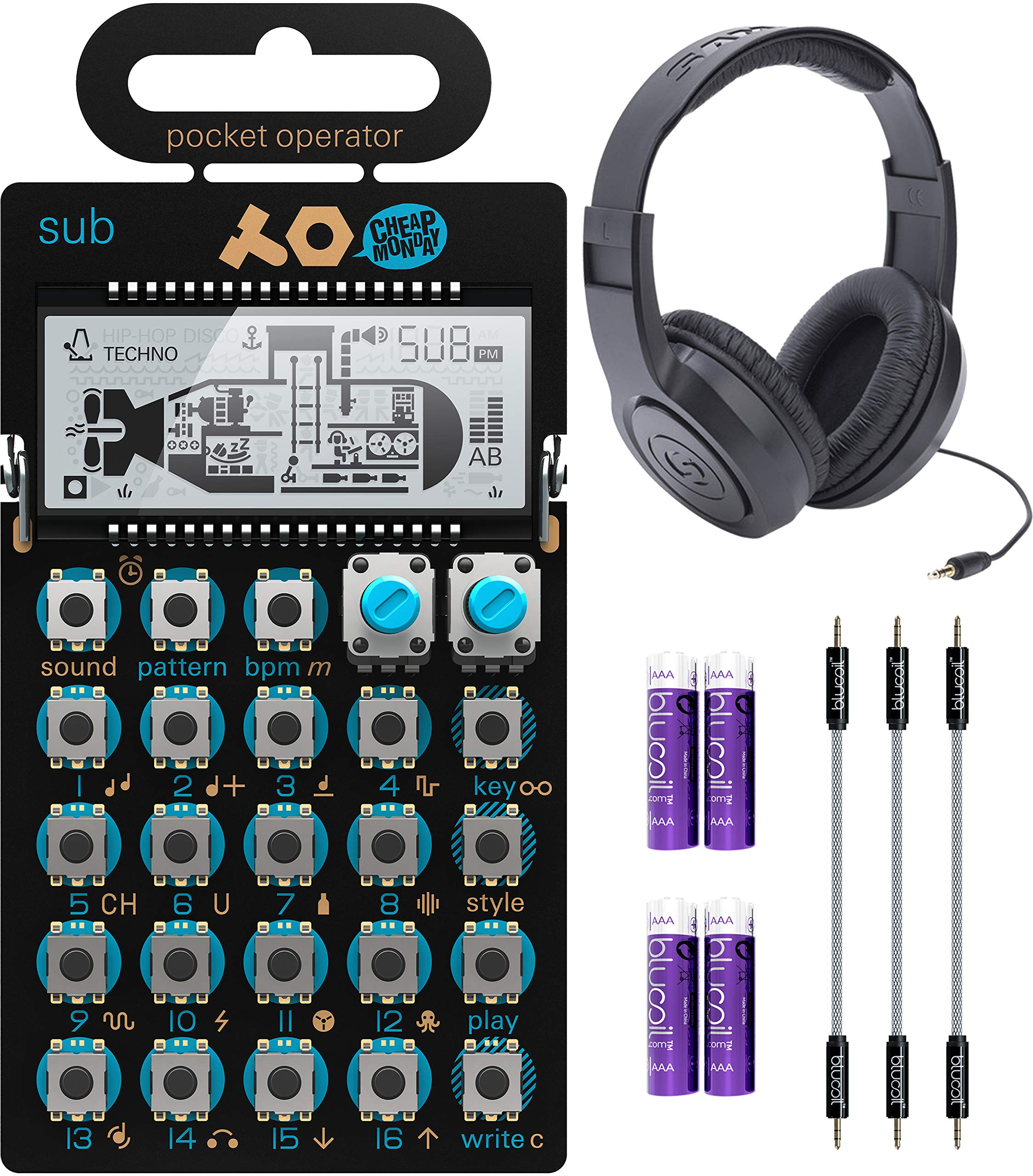 Teenage Engineering PO-14 Pocket Operator Sub Bass Synthesizer Bundle with Samson SR350 Over-Ear Closed-Back Headphones, Blucoil 3-Pack of 7'' Audio Aux Cables, and 4 AAA Batteries by blucoil