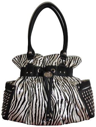 Women s Kathy Van Zeeland Purse Handbag Fan Club Belt Shopper Black White  Zebra  Handbags  Amazon.com 1f8b24ef039e1