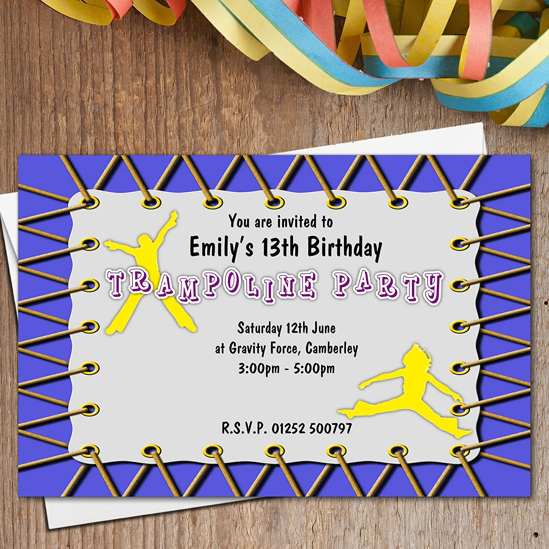 10 Personalised Girls Boys Trampoline Birthday Party Invitations ...