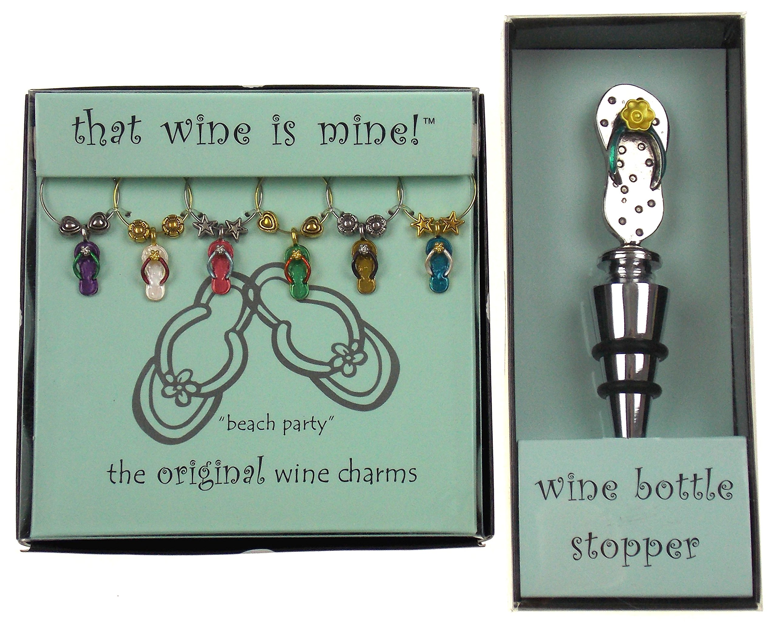 Flip Flop Wine Charms & Bottle Stopper Bundle by Wine Things