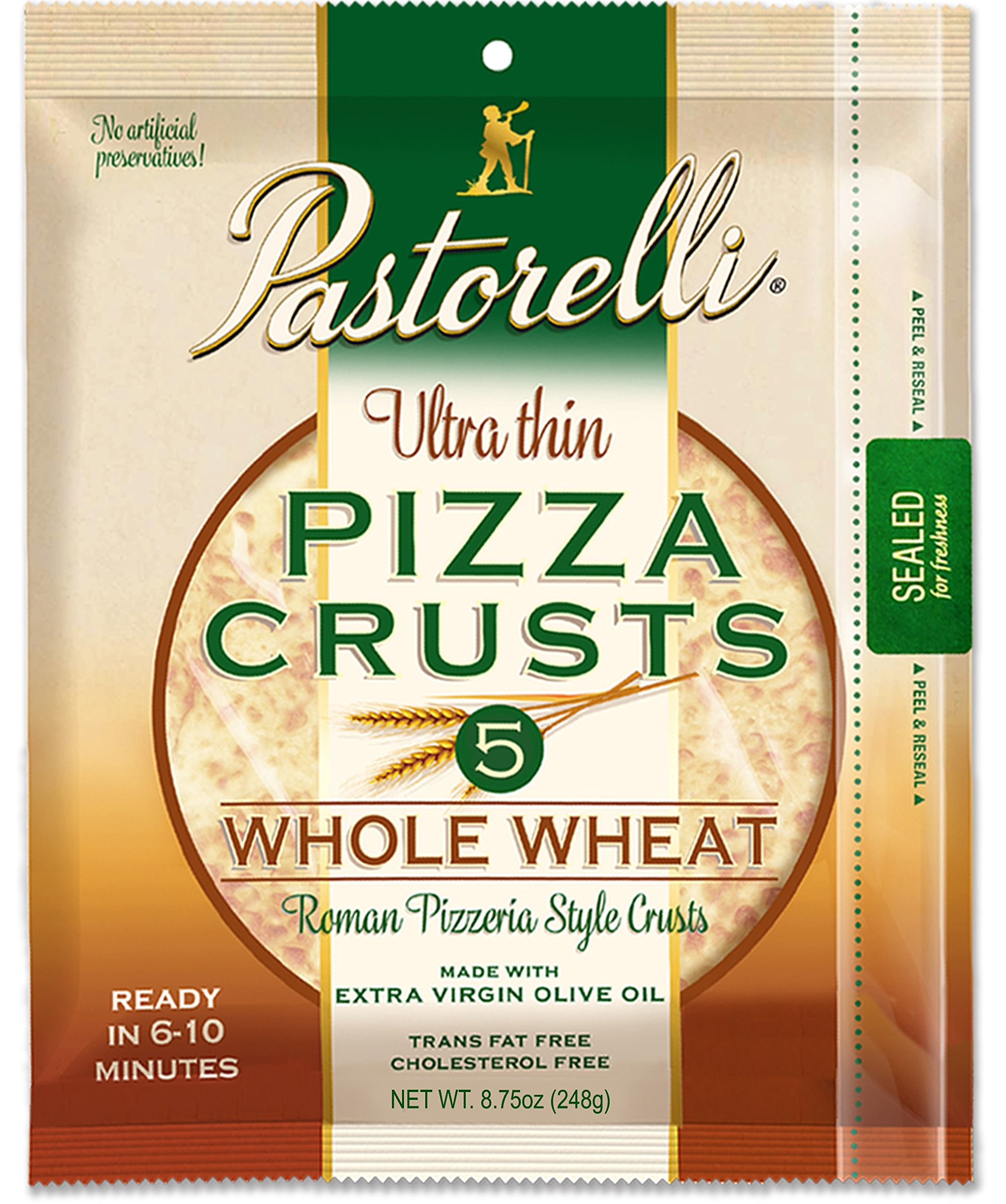 Pastorelli Ultra Thin & Crispy Pizza Crust, Whole Wheat, 12-inch, 3-ct (Pack of 6)