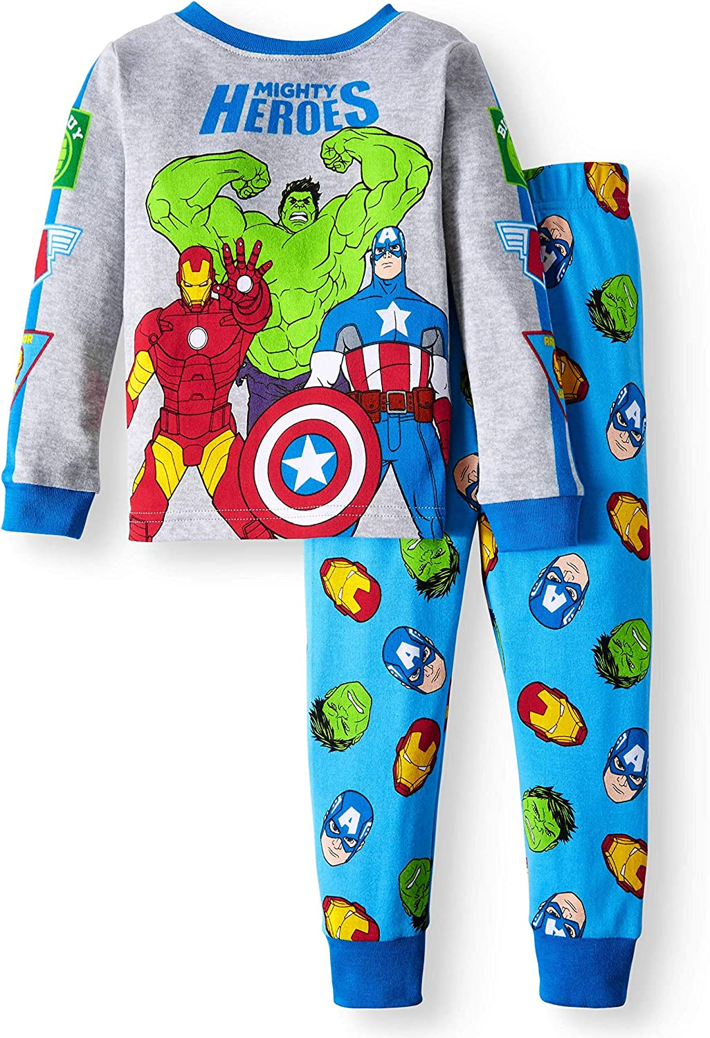 AME Avengers Little Boys Toddler Cotton Pajama Set,Gray//Blue,5T