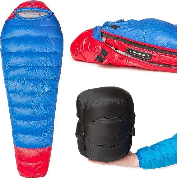 Bolsa para 4 Estaciones Camping y Viajes de mochileros Clima fr/ío Ultraligero Paria Outdoor Products Saco de Dormir Tipo Momia Thermodown a 0 Grados
