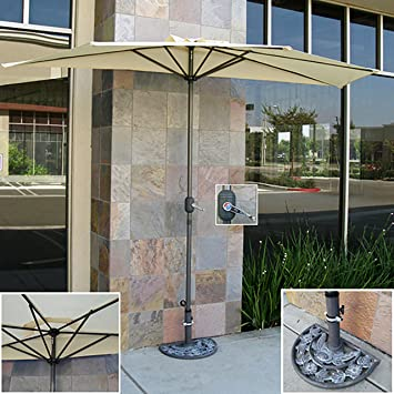 Best Choice Products Patio Umbrella Half With Umbrella Stand 9u0027 Tan Market  Aluminum Umbrella Commercial