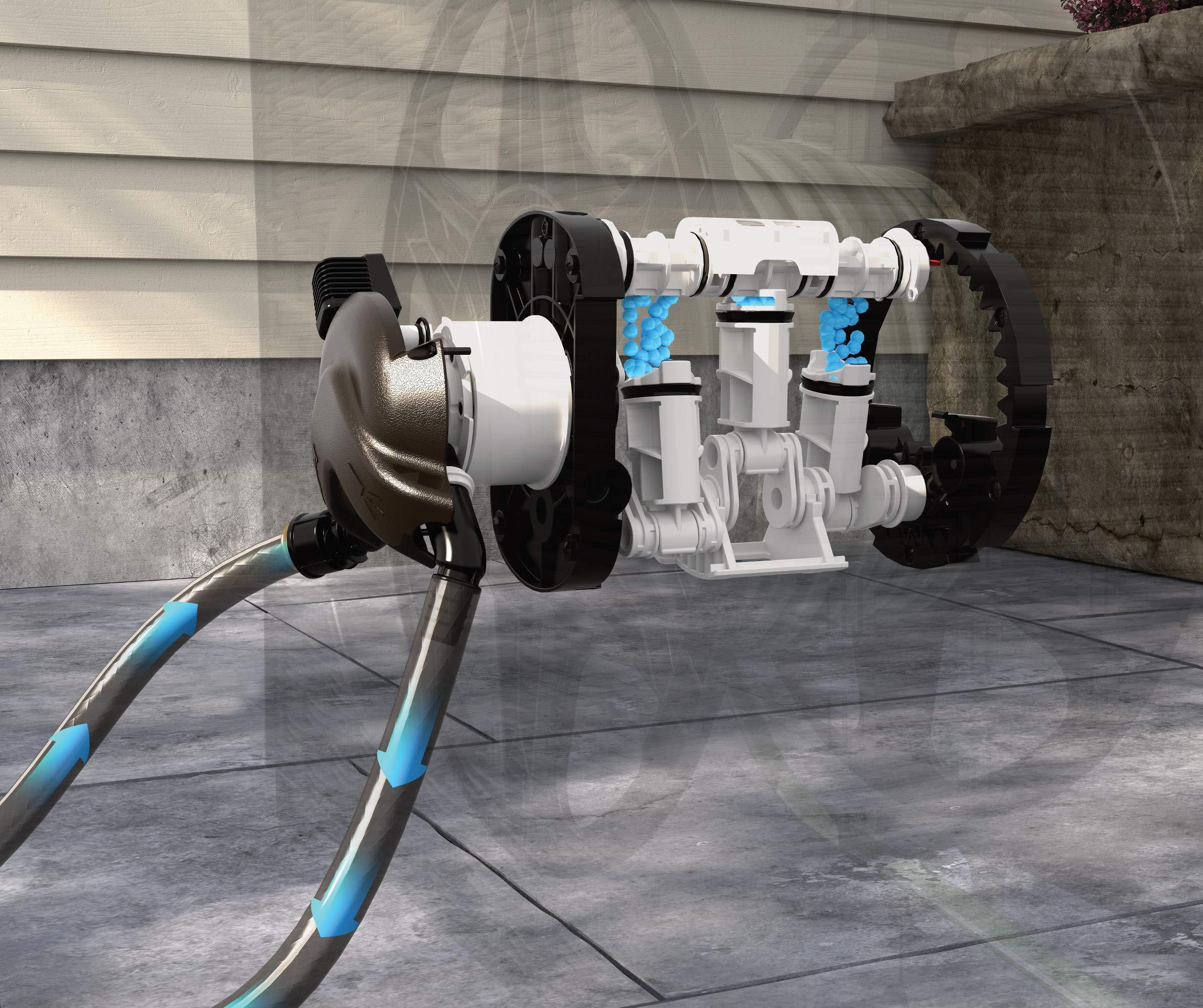 Suncast Aquawinder 125' Wicker Garden Hose Reel - Lightweight Portable Hands - Free Water Powered Retractable Hose Reel - Java by Suncast