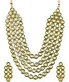 Touchstone Indian bollywood Mughal era inspired Kundan look Jaipur meenakari four liner bridal jewelry necklace set in gold tone for women
