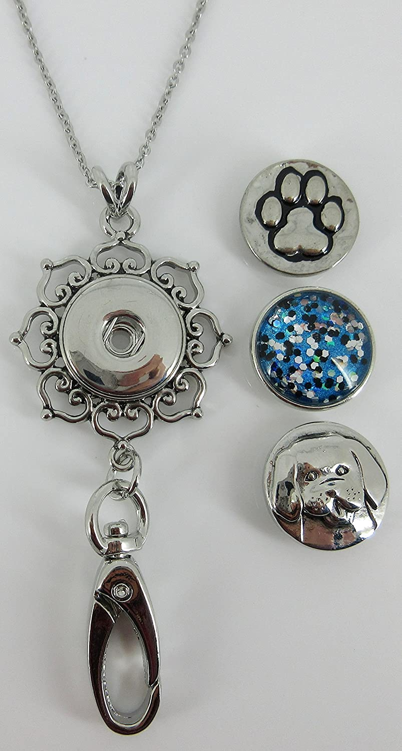 Dog Lover - Womens Lanyard Chain - Hearts Pendant w/ Clip for IDs, Badges, Keys - Comes with 3 Snap Charms