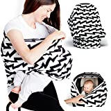 Baby Car Seat Cover - Nursing Breastfeeding Scarf - Stroller, Carseat Canopy Cover for Girls and Boys - Infant Car Seat Cover - Baby Carrier Covers Infinity Stretchy Nursing Cover (Electric Stripes)