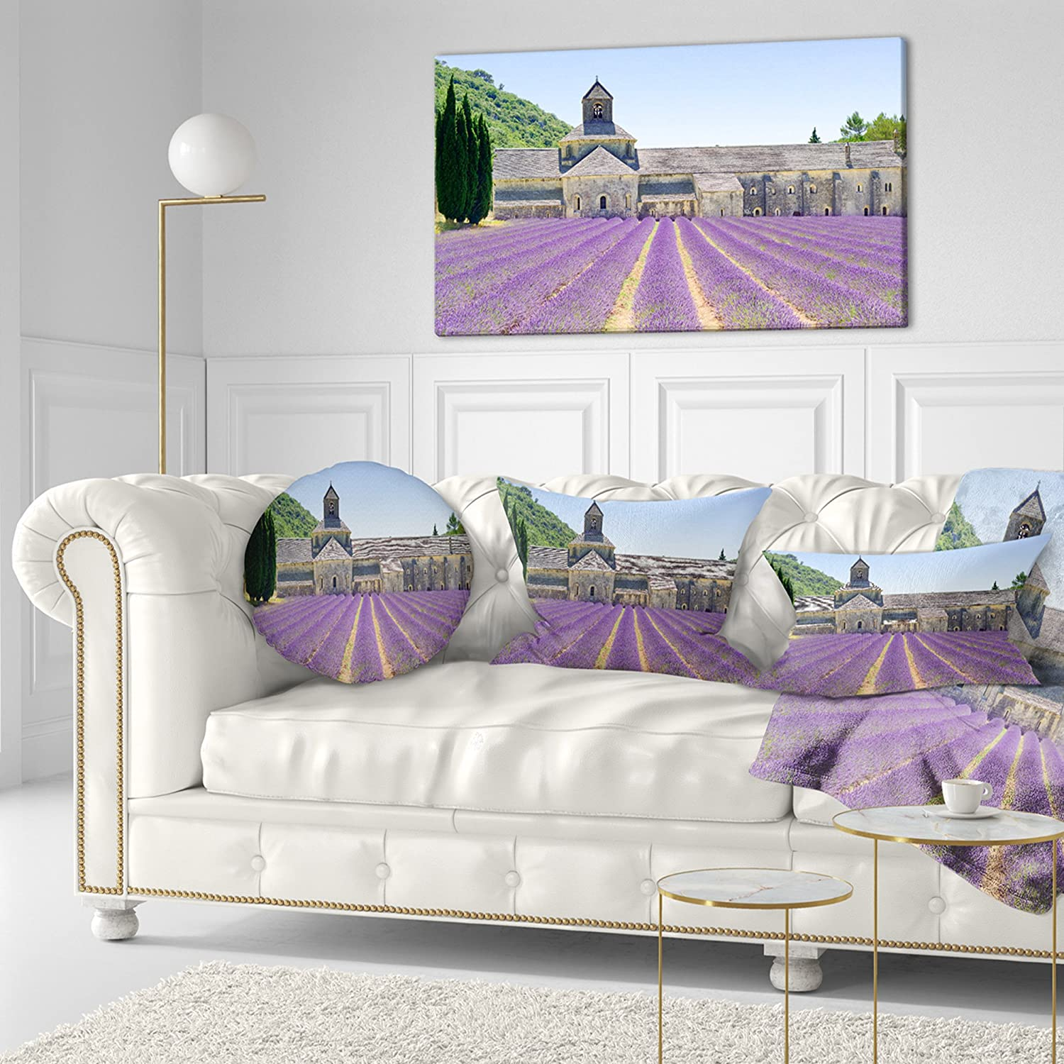in x 20 in Sofa Throw Pillow 12 in Designart CU11406-12-20 Abbey of Senanque Blooming Lavender Landscape Wall Lumbar Cushion Cover for Living Room