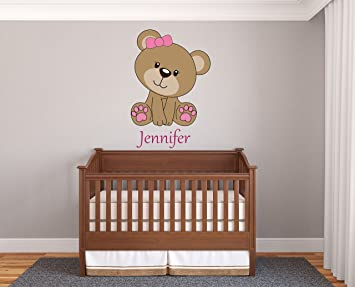 Custom Name Teddy Bear - Prime Series - Baby Girl - Nursery Wall Decal For  Baby Room Decorations - Mural Wall Decal Sticker For Home Children\'s ...