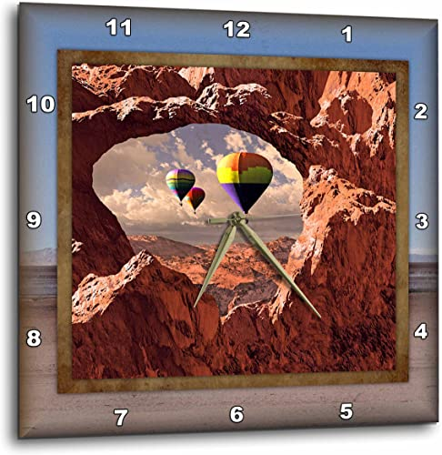 3dRose DPP_41300_3 Hot Air Balloons in The Southwest Wall Clock, 15 by 15-Inch