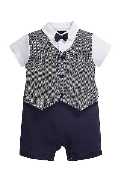 next Bebé Niño Pelele Corto De Vestir Elegante (0 Meses - 2 Años) Corte Estándar Azul Marino/Gris 1.5-2 años: Amazon.es: Ropa y accesorios