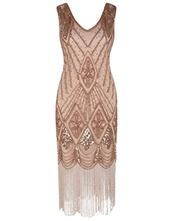 7c38dbe9 PrettyGuide Women 1920s 1920s Gatsby Cocktail Sequin Art Deco Flapper Dress  S Rose Gold