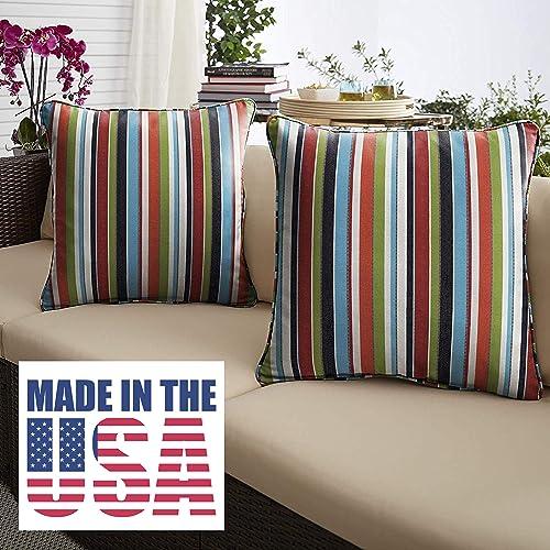 Cheap 1101Design Sunbrella Carousel Confetti Corded Decorative Indoor/Outdoor Square Throw Pillow outdoor pillow for sale