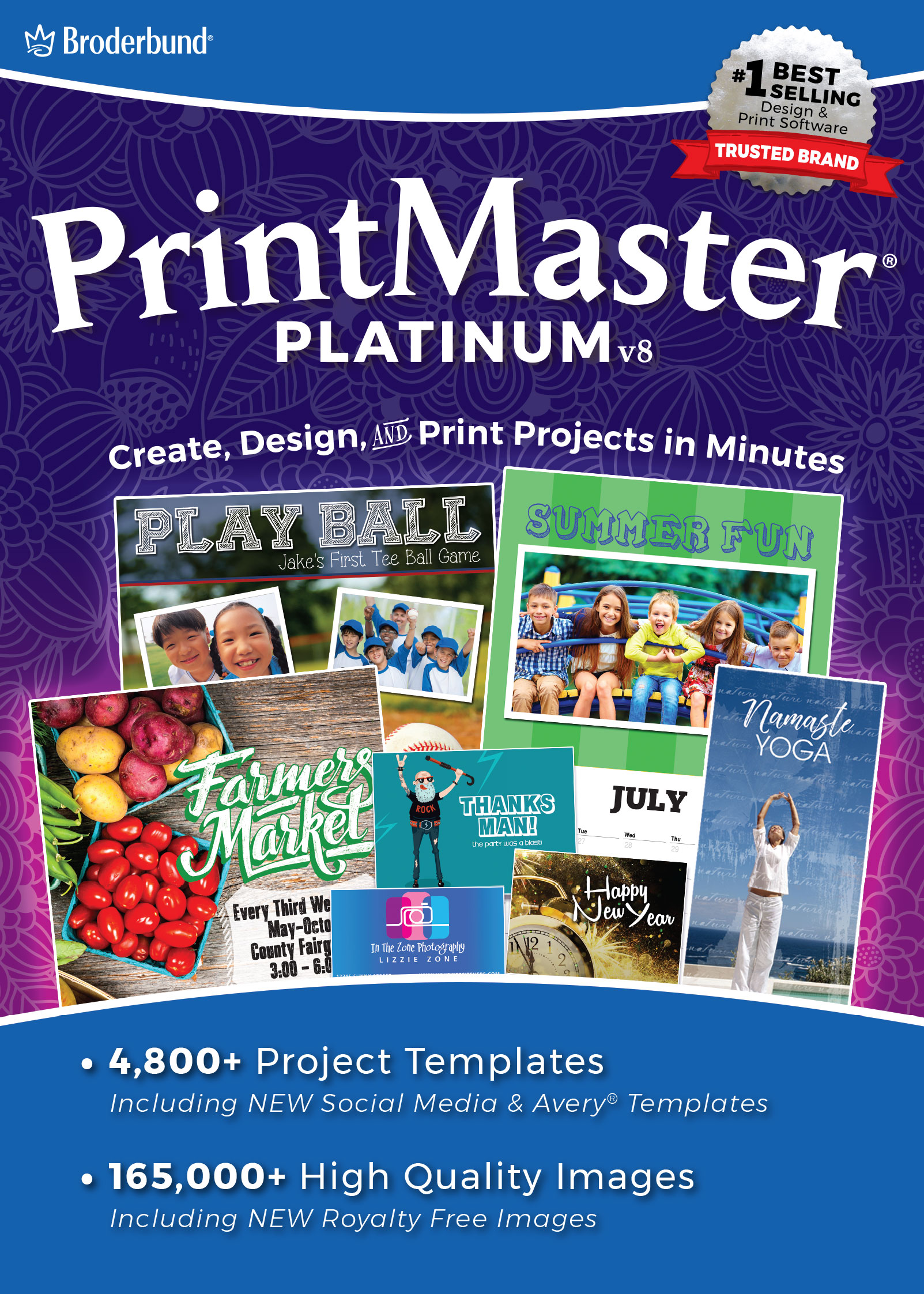 PrintMaster v8 Platinum for Mac- Design Software for At Home Print Projects [Download] by Encore