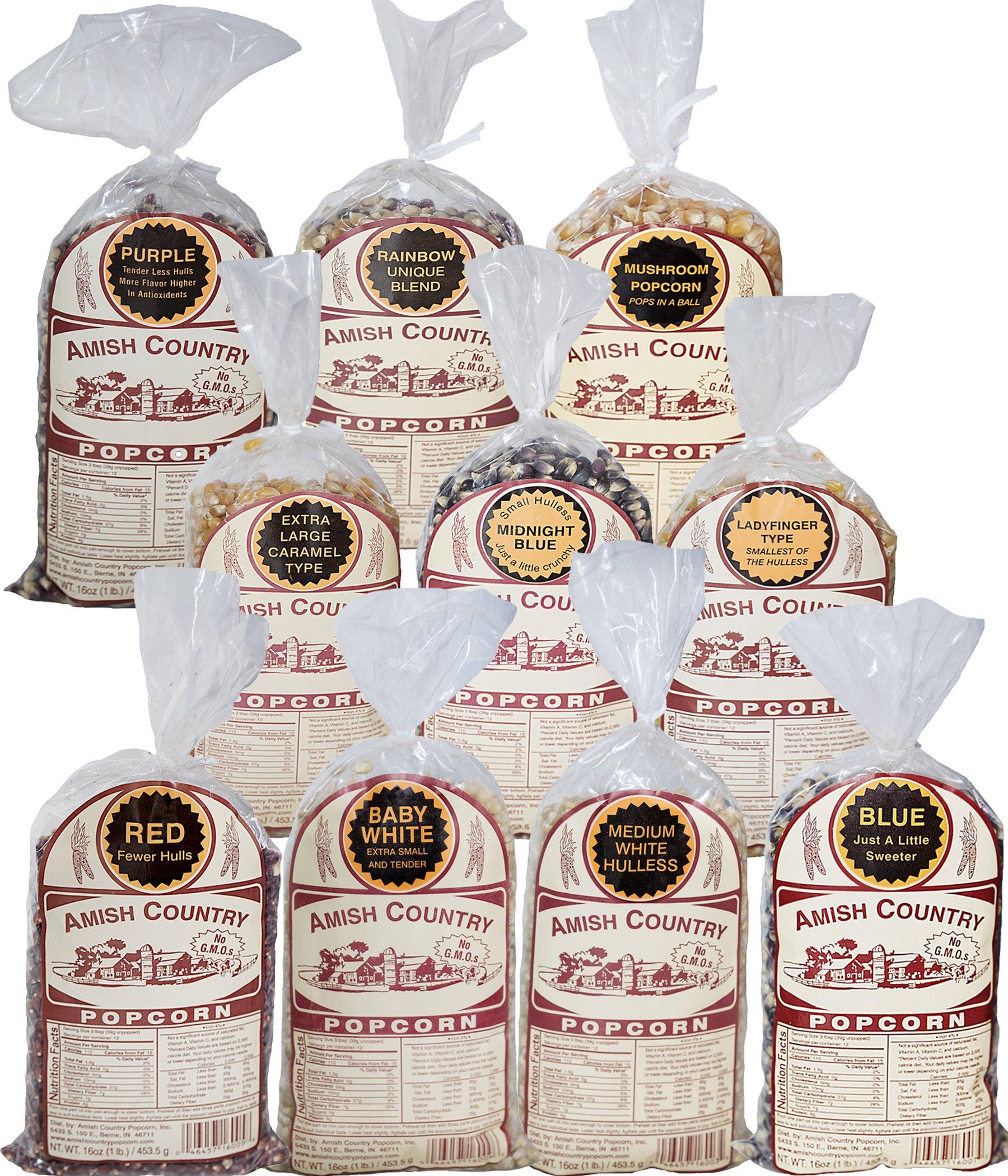 Amish Country Popcorn - 10 (1 Lb Bag) Variety Bundle with Recipe Guide (Red, Blue, Medium White, Midnight Blue, Purple, Ladyfinger, Baby White, Rainbow, Extra Large Caramel Type, and Mushroom)
