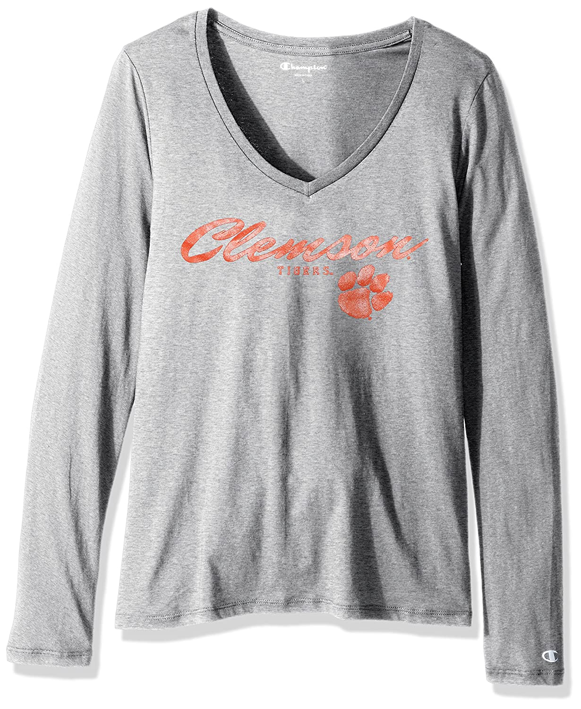 Large Oxford Heather Champion NCAA Clemson Tigers Womens University Long Sleeve V-Neck Tee