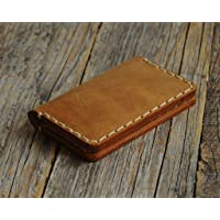 Credit Card Holder. Tan Brown Leather Wallet for Cards, Cash or ID. Rustic Style Unisex Pouch.