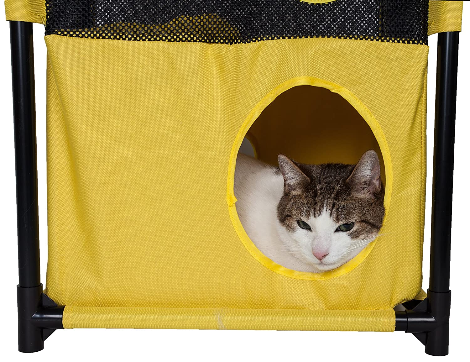 Yellow and Blue One Size PET LIFE Kitty-Square Collapsible Travel Interactive Kitty Cat Tree Maze House Lounger Tunnel Lounge